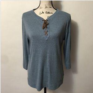 Lauren Ralph Lauren L Blue 3/4 Sleeve Lace Up V